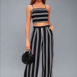 Coastal Living Navy and White 2 Piece Jumpsuit